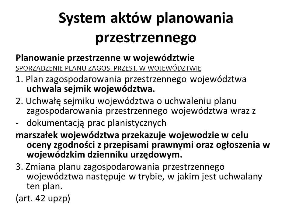 System aktów planowania przestrzennego Planowanie przestrzenne w województwie SPORZĄDZENIE PLANU ZAGOS. PRZEST. W WOJEWÓDZTWIE 1. Plan zagospodarowani
