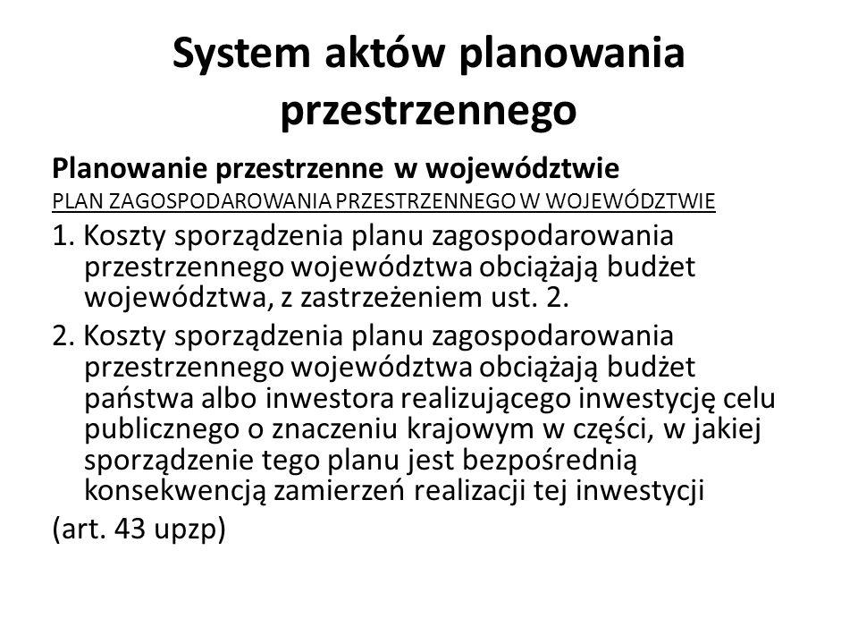 System aktów planowania przestrzennego Planowanie przestrzenne w województwie PLAN ZAGOSPODAROWANIA PRZESTRZENNEGO W WOJEWÓDZTWIE 1. Koszty sporządzen