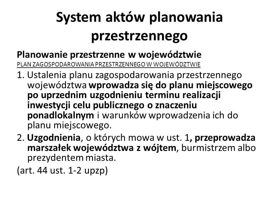 System aktów planowania przestrzennego Planowanie przestrzenne w województwie PLAN ZAGOSPODAROWANIA PRZESTRZENNEGO W WOJEWÓDZTWIE 1. Ustalenia planu z