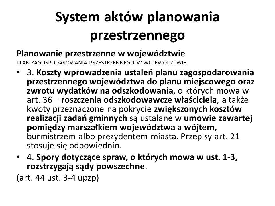 System aktów planowania przestrzennego Planowanie przestrzenne w województwie PLAN ZAGOSPODAROWANIA PRZESTRZENNEGO W WOJEWÓDZTWIE 3. Koszty wprowadzen