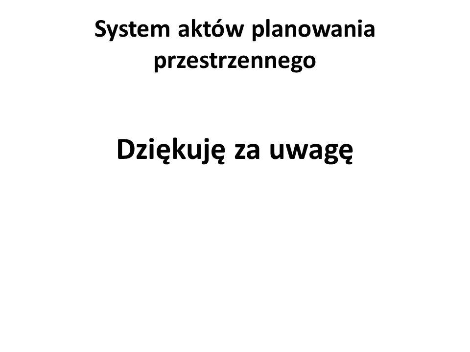 System aktów planowania przestrzennego Dziękuję za uwagę