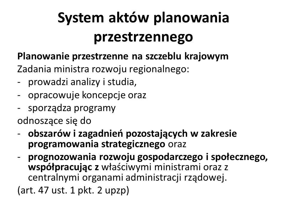 System aktów planowania przestrzennego Planowanie przestrzenne na szczeblu krajowym Koncepcja przestrzennego rozwoju kraju określa uwarunkowania, cele i kierunki zrównoważonego rozwoju kraju oraz działania niezbędne do jego osiągnięcia, a w szczególności: 1) podstawowe elementy krajowej sieci osadniczej; 2) wymagania z zakresu ochrony środowiska i zabytków, z uwzględnieniem obszarów podlegających ochronie; 3) rozmieszczenie infrastruktury społecznej o znaczeniu międzynarodowym i krajowym; 4) rozmieszczenie obiektów infrastruktury technicznej i transportowej, strategicznych zasobów wodnych i obiektów gospodarki wodnej o znaczeniu międzynarodowym i krajowym; 5) obszary funkcjonalne uwzględnia cele i kierunki zawarte w długookresowej strategii rozwoju kraju oraz obejmuje okres zgodny z okresem jej obowiązywania.