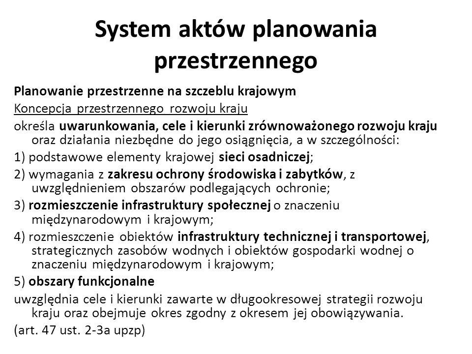 System aktów planowania przestrzennego Planowanie przestrzenne na szczeblu krajowym Koncepcja przestrzennego rozwoju kraju określa uwarunkowania, cele