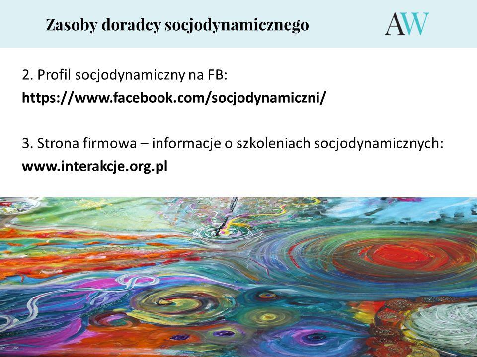 Zasoby doradcy socjodynamicznego 2. Profil socjodynamiczny na FB: https://www.facebook.com/socjodynamiczni/ 3. Strona firmowa – informacje o szkolenia