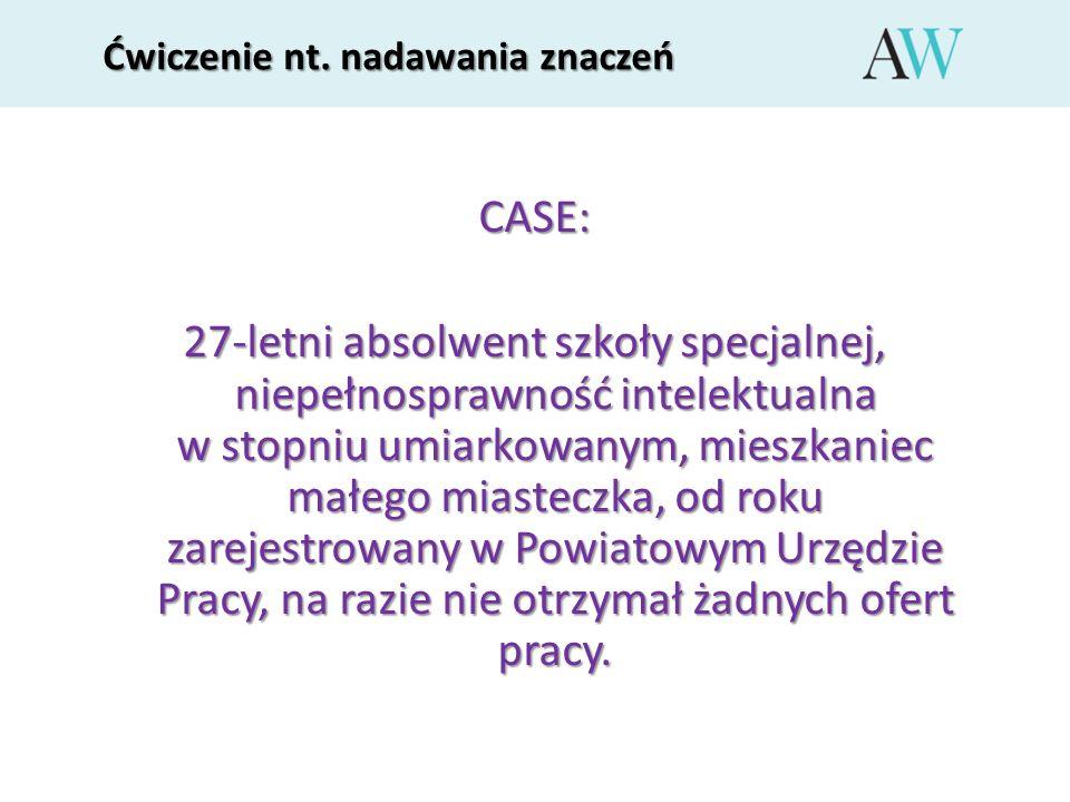 Ćwiczenie nt. nadawania znaczeń CASE: 27-letni absolwent szkoły specjalnej, niepełnosprawność intelektualna w stopniu umiarkowanym, mieszkaniec małego