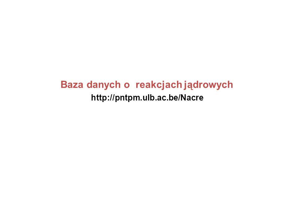 http://pntpm.ulb.ac.be/Nacre Baza danych o reakcjach jądrowych