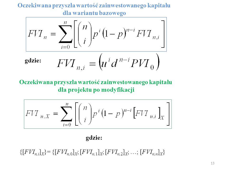 13 Oczekiwana przyszła wartość zainwestowanego kapitału dla wariantu bazowego gdzie: Oczekiwana przyszła wartość zainwestowanego kapitału dla projektu po modyfikacji {[FVI n,i ] X }= {[FVI n,0 ] X ; [FVI n,1 ] X ; [FVI n,2 ] X ; …; [FVI n,n ] X } gdzie: