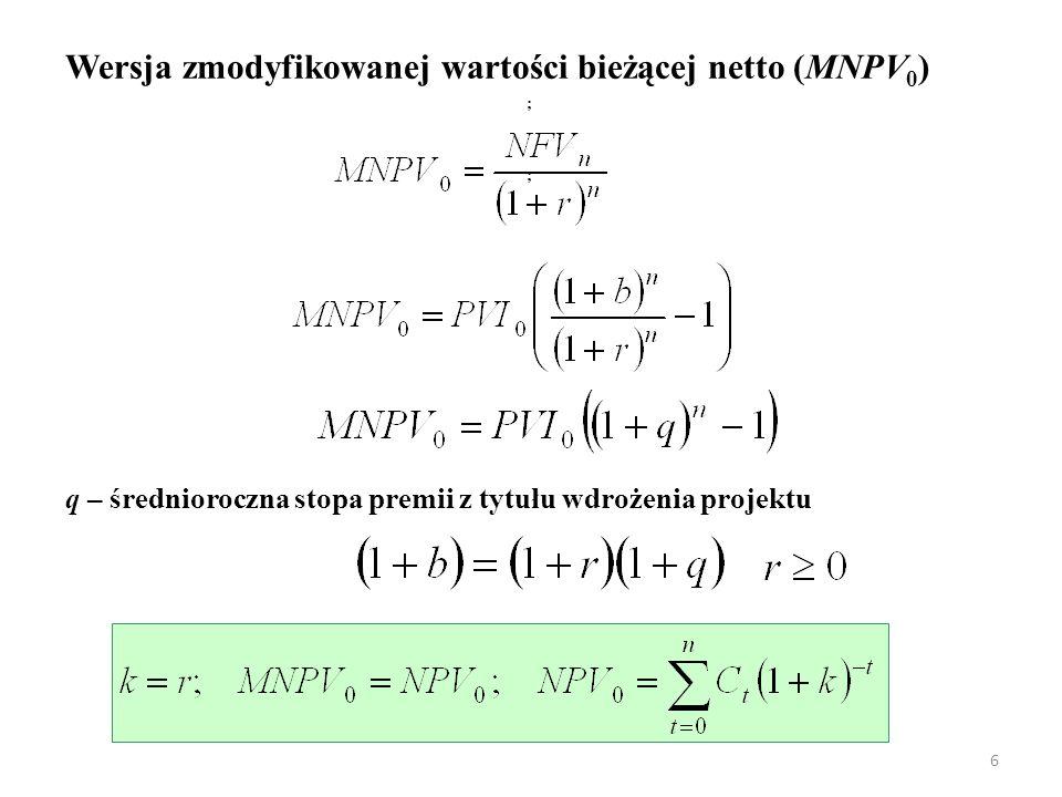 6 Wersja zmodyfikowanej wartości bieżącej netto (MNPV 0 ) q – średnioroczna stopa premii z tytułu wdrożenia projektu ; ;