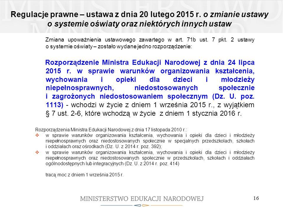 Regulacje prawne – ustawa z dnia 20 lutego 2015 r. o zmianie ustawy o systemie oświaty oraz niektórych innych ustaw Zmiana upoważnienia ustawowego zaw