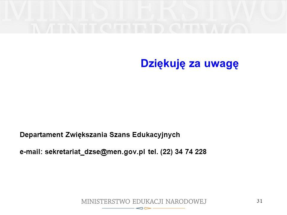 Dziękuję za uwagę Departament Zwiększania Szans Edukacyjnych e-mail: sekretariat_dzse@men.gov.pl tel. (22) 34 74 228 31