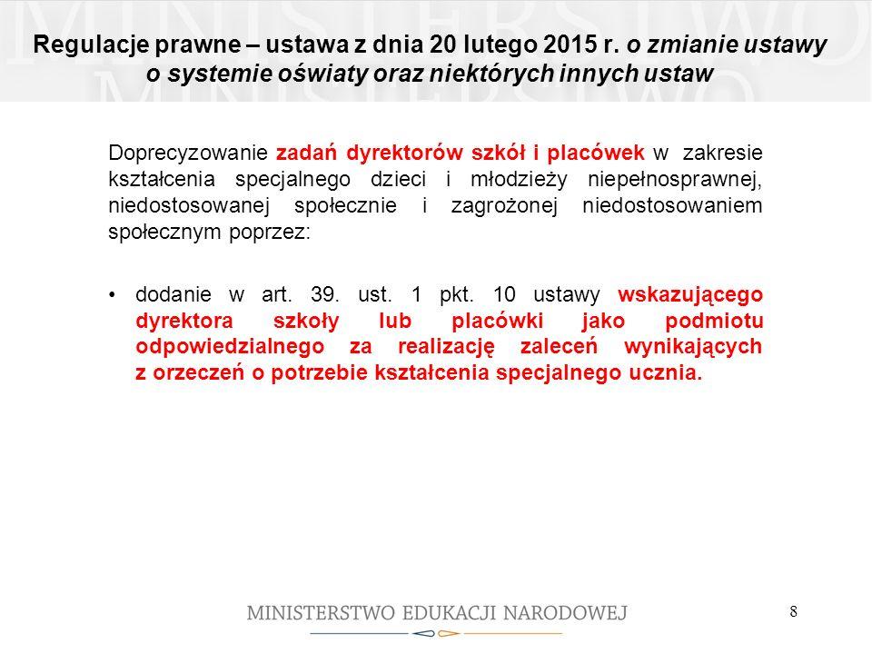 Regulacje prawne – ustawa z dnia 20 lutego 2015 r. o zmianie ustawy o systemie oświaty oraz niektórych innych ustaw Doprecyzowanie zadań dyrektorów sz