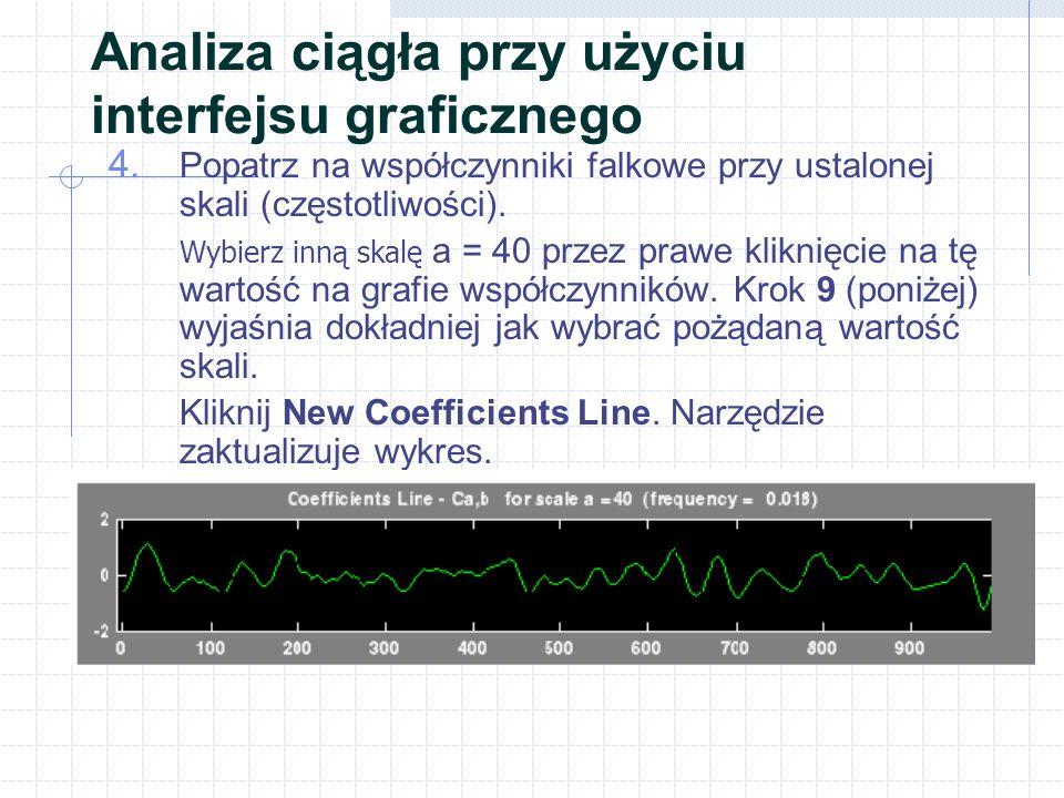 4. Popatrz na współczynniki falkowe przy ustalonej skali (częstotliwości).