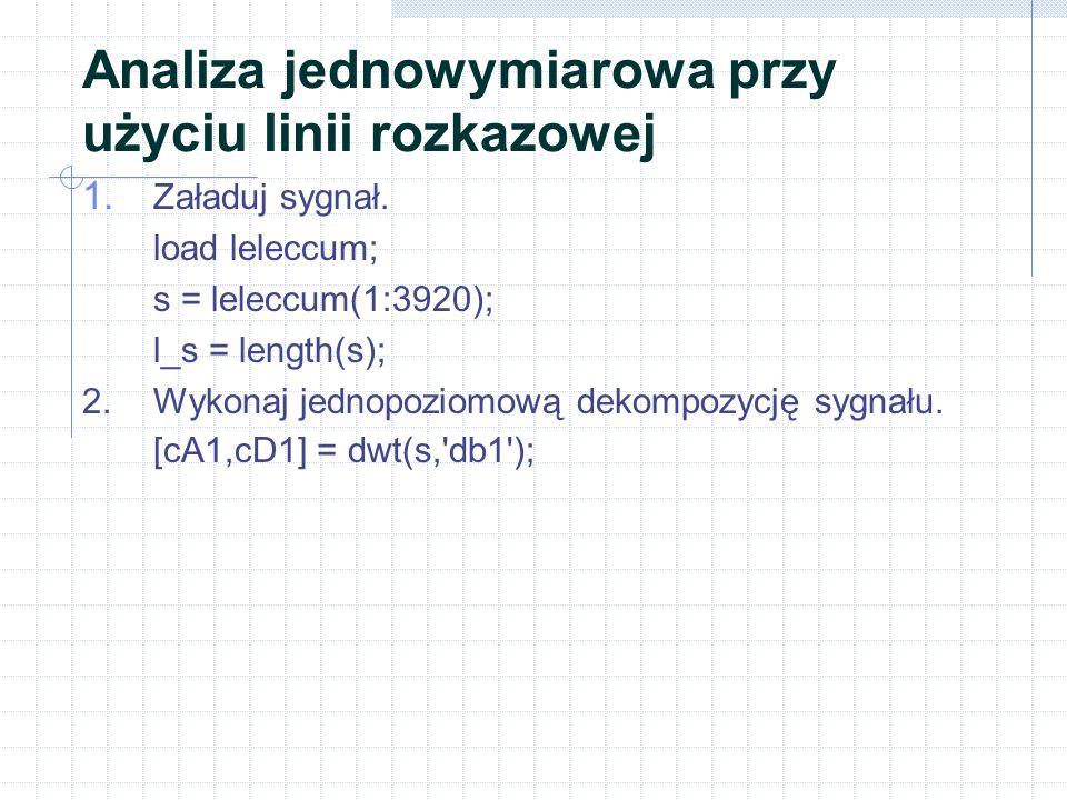 Analiza jednowymiarowa przy użyciu linii rozkazowej 1.