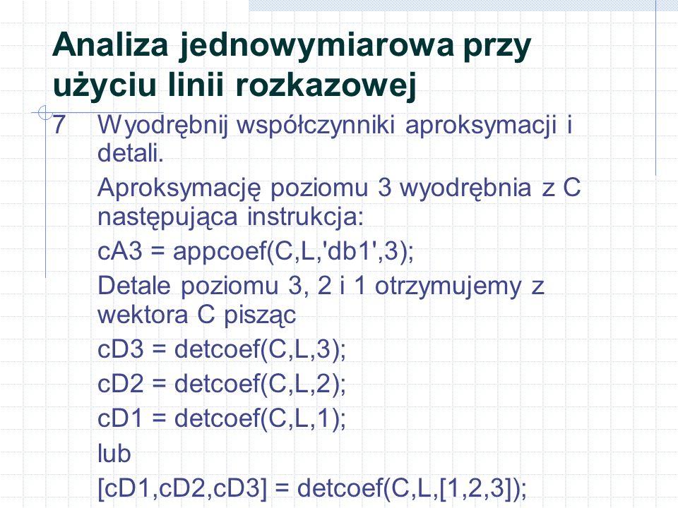 7Wyodrębnij współczynniki aproksymacji i detali. Aproksymację poziomu 3 wyodrębnia z C następująca instrukcja: cA3 = appcoef(C,L,'db1',3); Detale pozi