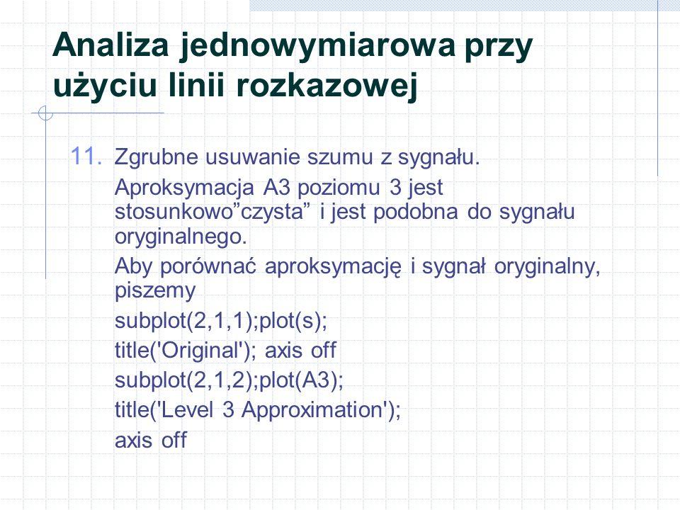Analiza jednowymiarowa przy użyciu linii rozkazowej 11.