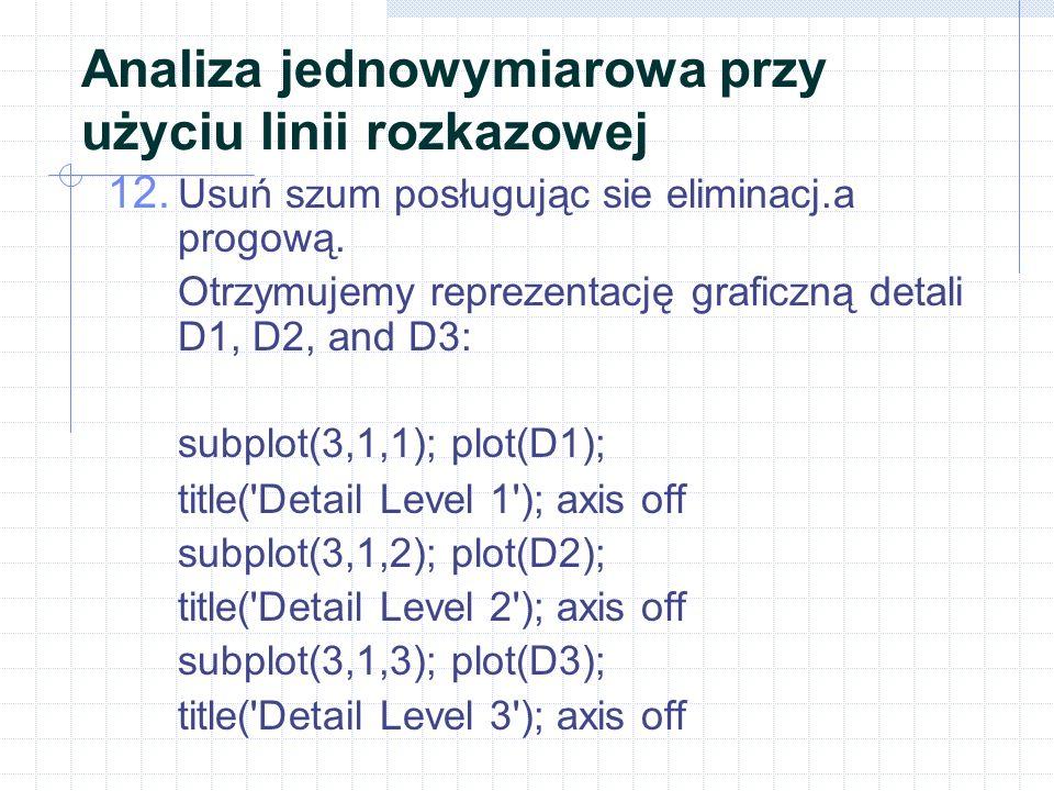 Analiza jednowymiarowa przy użyciu linii rozkazowej 12. Usuń szum posługując sie eliminacj.a progową. Otrzymujemy reprezentację graficzną detali D1, D