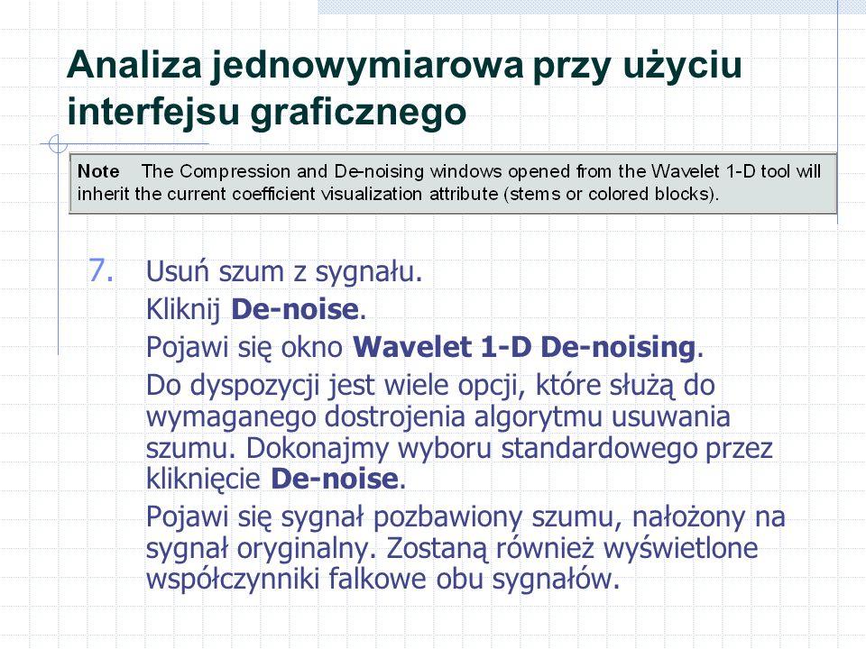 7. Usuń szum z sygnału. Kliknij De-noise. Pojawi się okno Wavelet 1-D De-noising.