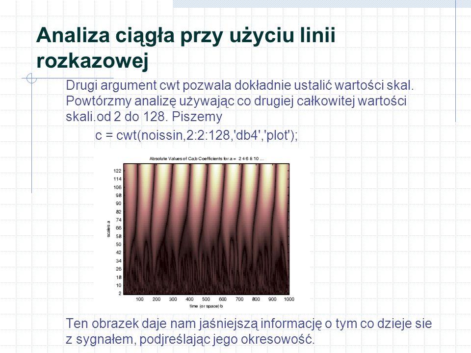"""Analiza jednowymiarowa przy użyciu linii rozkazowej Oczywiście, pozbywając się całej informacji wysokoczęstotliwościowej, straciliśmy również wiele """"ostrych cech sygnału oryginalnego."""