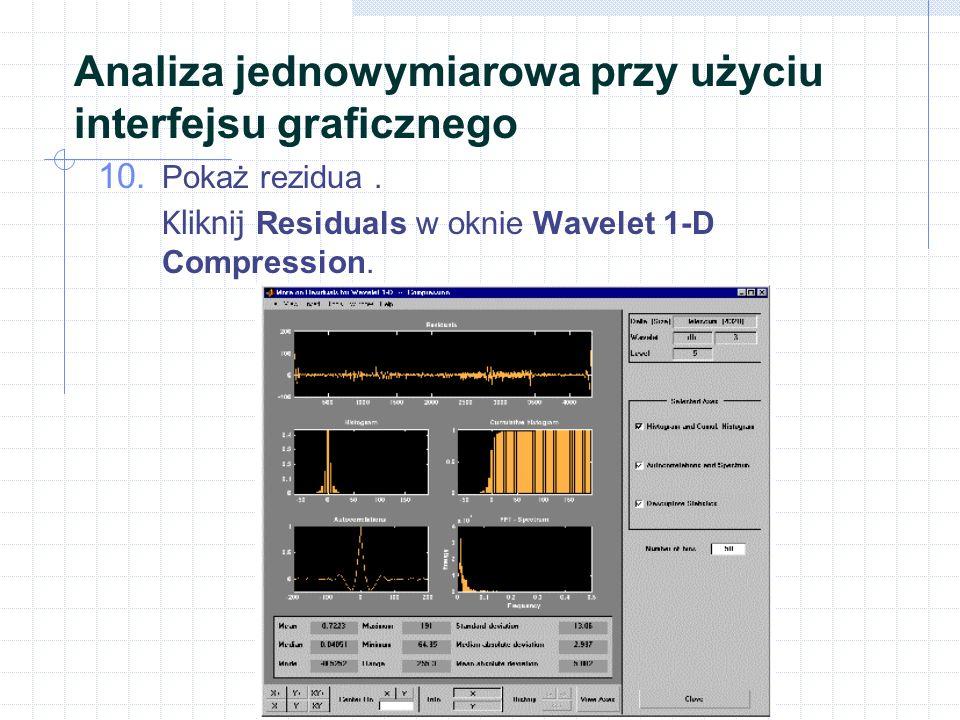 Analiza jednowymiarowa przy użyciu interfejsu graficznego 10.