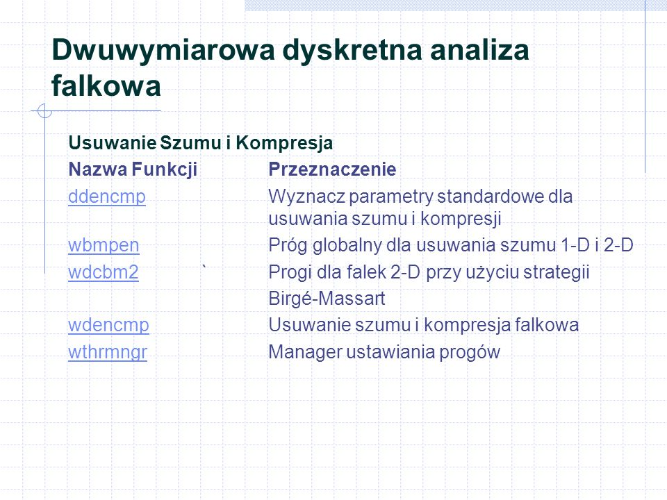 Dwuwymiarowa dyskretna analiza falkowa Usuwanie Szumu i Kompresja Nazwa FunkcjiPrzeznaczenie ddencmpddencmp Wyznacz parametry standardowe dla usuwania szumu i kompresji wbmpenwbmpen Próg globalny dla usuwania szumu 1-D i 2-D wdcbm2wdcbm2 `Progi dla falek 2-D przy użyciu strategii Birgé-Massart wdencmpwdencmp Usuwanie szumu i kompresja falkowa wthrmngrwthrmngr Manager ustawiania progów