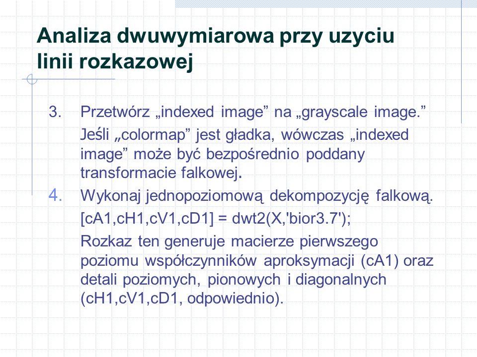 """Analiza dwuwymiarowa przy uzyciu linii rozkazowej 3.Przetwórz """"indexed image na """"grayscale image. Jeśli """" colormap jest gładka, wówczas """"indexed image może być bezpośrednio poddany transformacie falkowej."""
