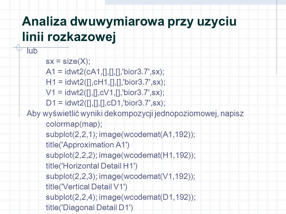 Analiza dwuwymiarowa przy uzyciu linii rozkazowej lub sx = size(X); A1 = idwt2(cA1,[],[],[], bior3.7 ,sx); H1 = idwt2([],cH1,[],[], bior3.7 ,sx); V1 = idwt2([],[],cV1,[], bior3.7 ,sx); D1 = idwt2([],[],[],cD1, bior3.7 ,sx); Aby wyświetlić wyniki dekompozycji jednopoziomowej, napisz colormap(map); subplot(2,2,1); image(wcodemat(A1,192)); title( Approximation A1 ) subplot(2,2,2); image(wcodemat(H1,192)); title( Horizontal Detail H1 ) subplot(2,2,3); image(wcodemat(V1,192)); title( Vertical Detail V1 ) subplot(2,2,4); image(wcodemat(D1,192)); title( Diagonal Detail D1 )