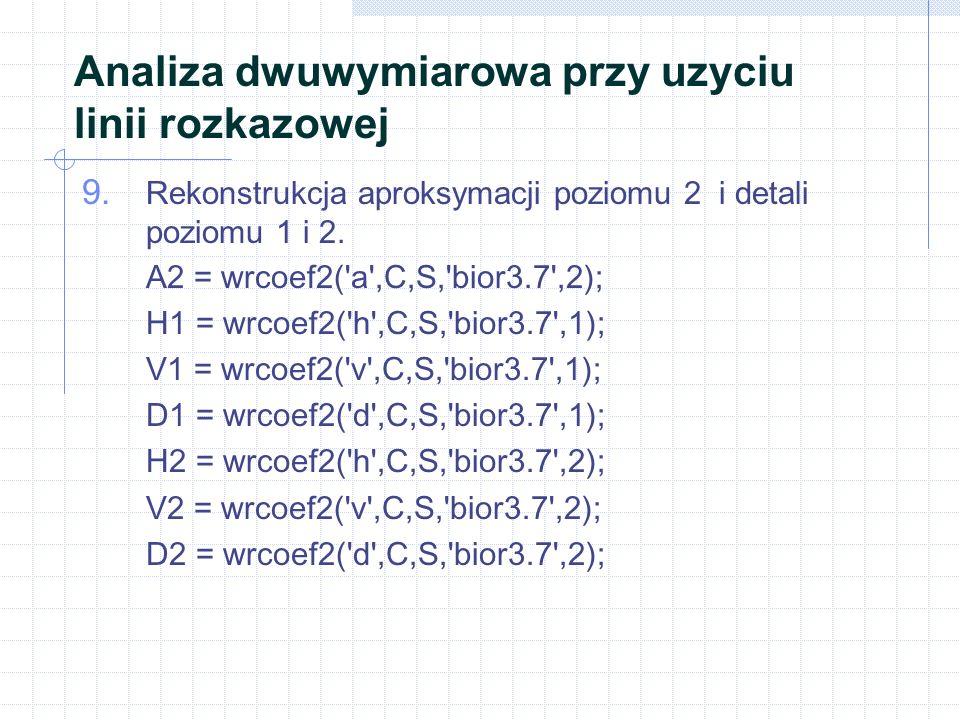 Analiza dwuwymiarowa przy uzyciu linii rozkazowej 9. Rekonstrukcja aproksymacji poziomu 2 i detali poziomu 1 i 2. A2 = wrcoef2('a',C,S,'bior3.7',2); H