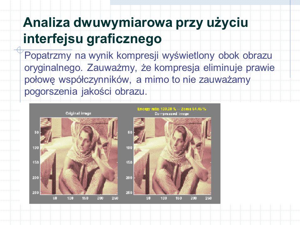 Analiza dwuwymiarowa przy użyciu interfejsu graficznego Popatrzmy na wynik kompresji wyświetlony obok obrazu oryginalnego.
