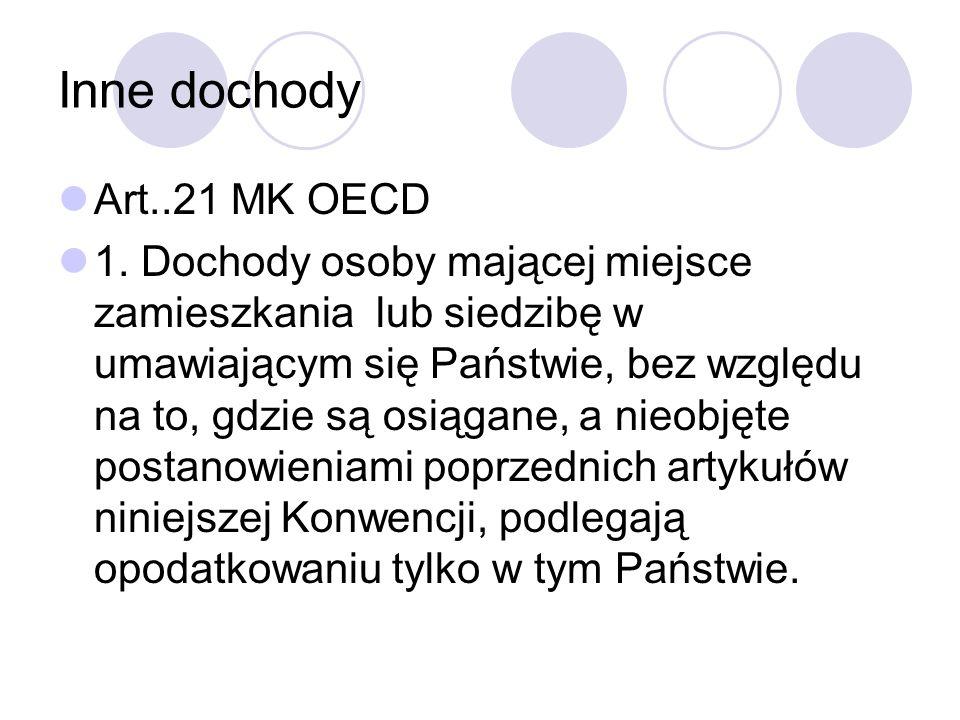Inne dochody Art..21 MK OECD 1.