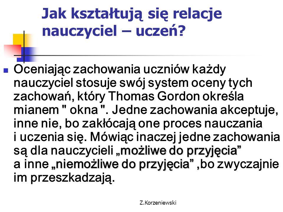 """Z.Korzeniewski Jak kształtują się relacje nauczyciel – uczeń? możliwe do przyjęcia"""" """"niemożliwe do przyjęcia"""", Oceniając zachowania uczniów każdy nauc"""