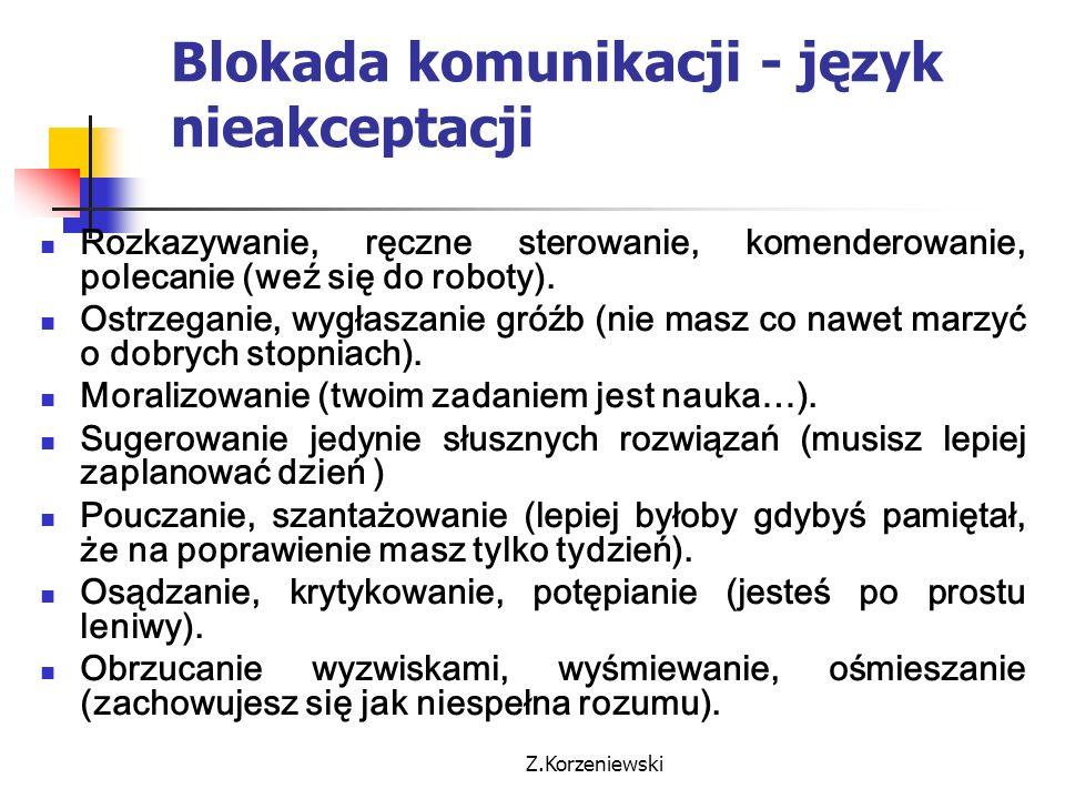 Z.Korzeniewski Blokada komunikacji - język nieakceptacji Rozkazywanie, ręczne sterowanie, komenderowanie, polecanie (weź się do roboty). Ostrzeganie,