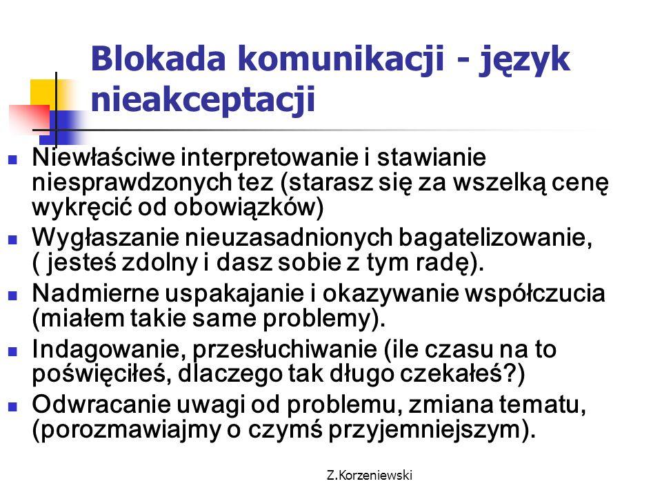 Z.Korzeniewski Blokada komunikacji - język nieakceptacji Niewłaściwe interpretowanie i stawianie niesprawdzonych tez (starasz się za wszelką cenę wykr