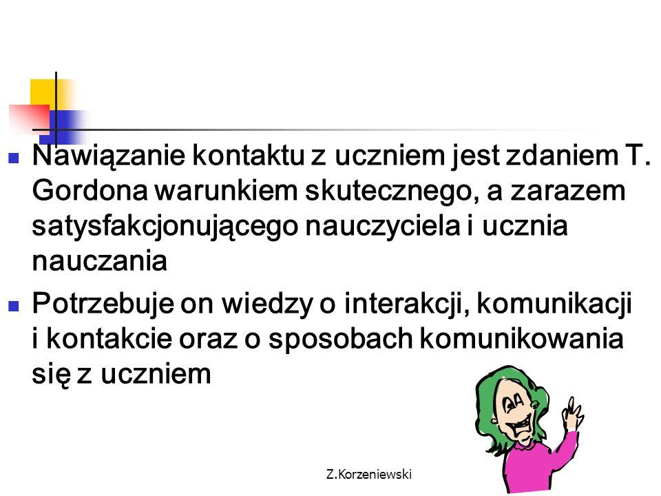 Z.Korzeniewski Zachowanie nauczyciela w fazie nawiązywania kontaktu z uczniem- cele: 1.