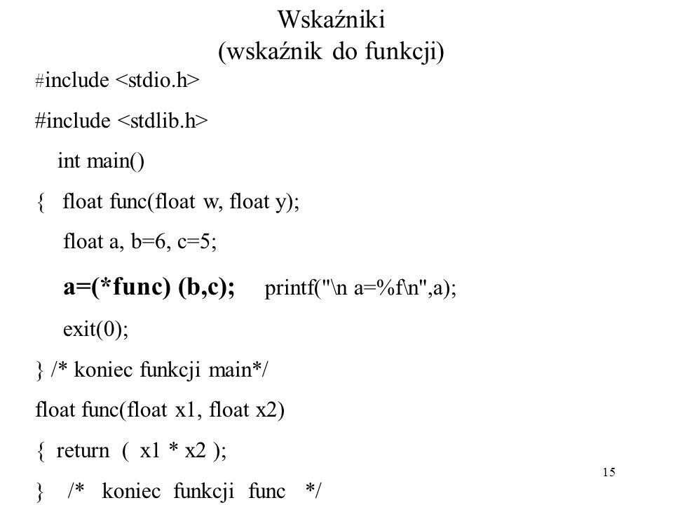 15 Wskaźniki (wskaźnik do funkcji) # include int main() { float func(float w, float y); float a, b=6, c=5; a=(*func) (b,c); printf( \n a=%f\n ,a); exit(0); } /* koniec funkcji main*/ float func(float x1, float x2) { return ( x1 * x2 ); } /* koniec funkcji func */