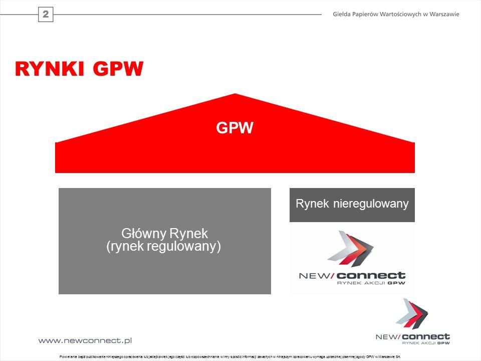 2 Główny Rynek (rynek regulowany) Rynek nieregulowany GPW RYNKI GPW 28 Powielanie bądź publikowanie niniejszego opracowania lub jakiejkolwiek jego części lub rozpowszechnianie w inny sposób informacji zawartych w niniejszym opracowaniu wymaga uprzedniej pisemnej zgody GPW w Warszawie SA