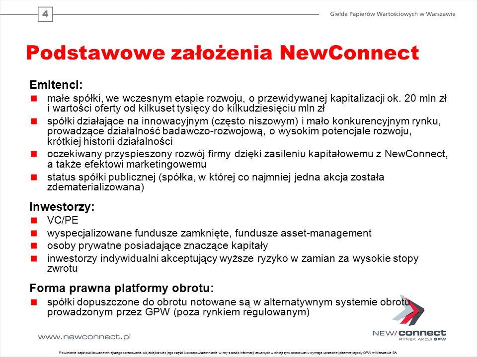 4 Podstawowe założenia NewConnect Emitenci: małe spółki, we wczesnym etapie rozwoju, o przewidywanej kapitalizacji ok. 20 mln zł i wartości oferty od
