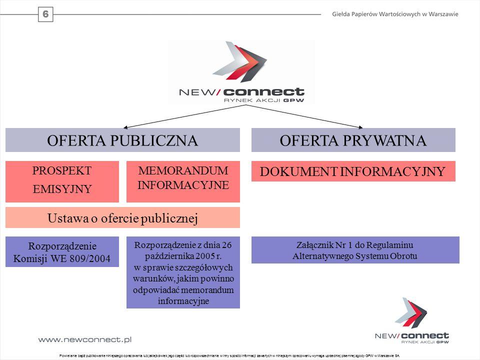 6 5 OFERTA PUBLICZNA PROSPEKT EMISYJNY MEMORANDUM INFORMACYJNE Ustawa o ofercie publicznej Rozporządzenie Komisji WE 809/2004 Rozporządzenie z dnia 26 października 2005 r.