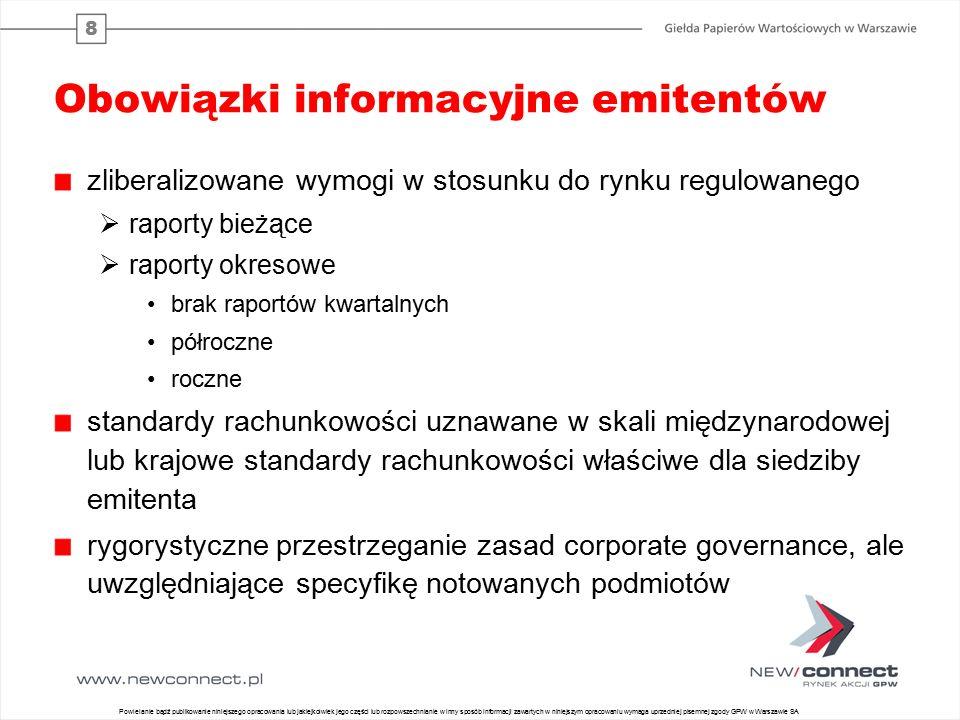 8 Obowiązki informacyjne emitentów zliberalizowane wymogi w stosunku do rynku regulowanego  raporty bieżące  raporty okresowe brak raportów kwartaln