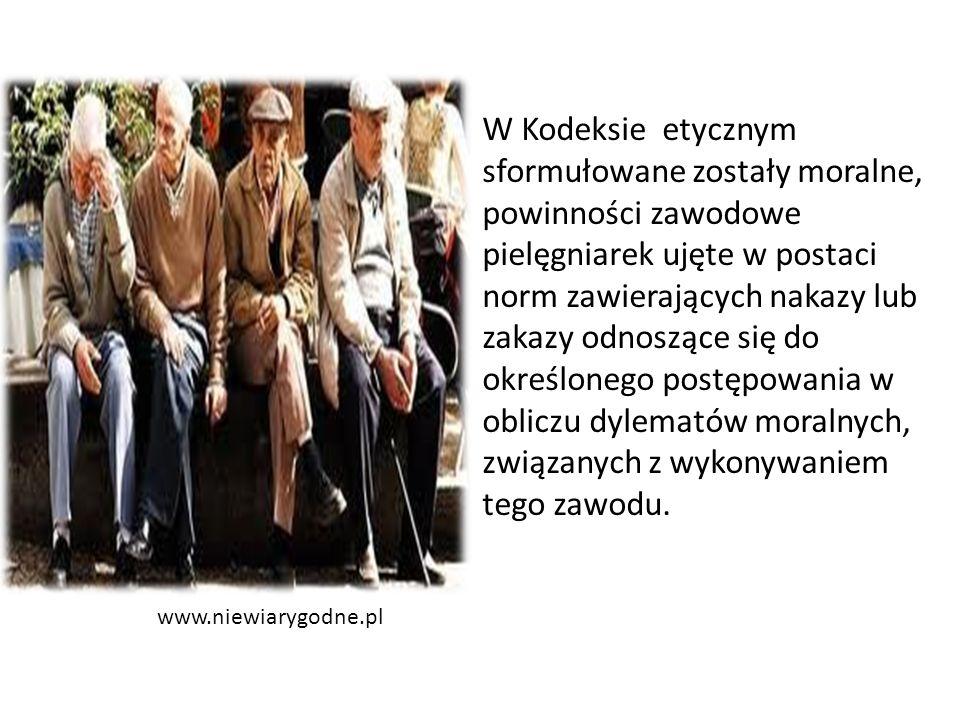 www.niewiarygodne.pl W Kodeksie etycznym sformułowane zostały moralne, powinności zawodowe pielęgniarek ujęte w postaci norm zawierających nakazy lub zakazy odnoszące się do określonego postępowania w obliczu dylematów moralnych, związanych z wykonywaniem tego zawodu.