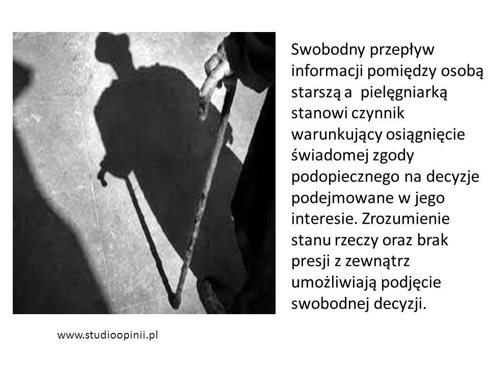 www.studioopinii.pl Swobodny przepływ informacji pomiędzy osobą starszą a pielęgniarką stanowi czynnik warunkujący osiągnięcie świadomej zgody podopiecznego na decyzje podejmowane w jego interesie.