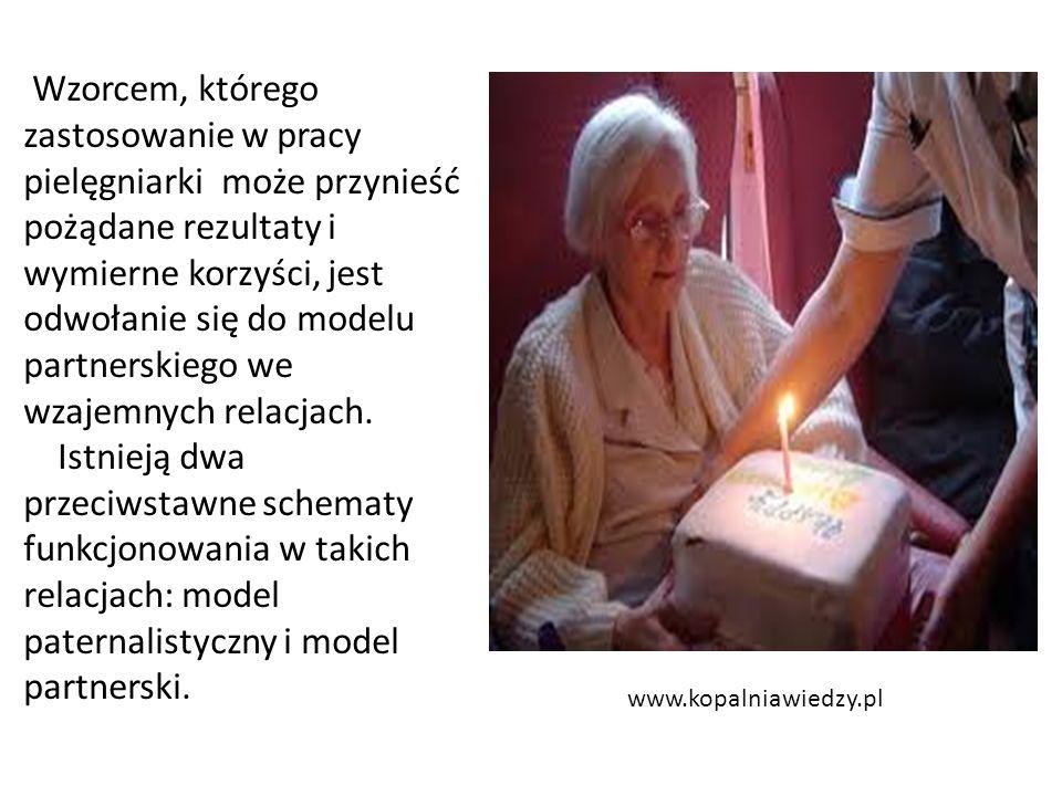 www.kopalniawiedzy.pl Wzorcem, którego zastosowanie w pracy pielęgniarki może przynieść pożądane rezultaty i wymierne korzyści, jest odwołanie się do modelu partnerskiego we wzajemnych relacjach.