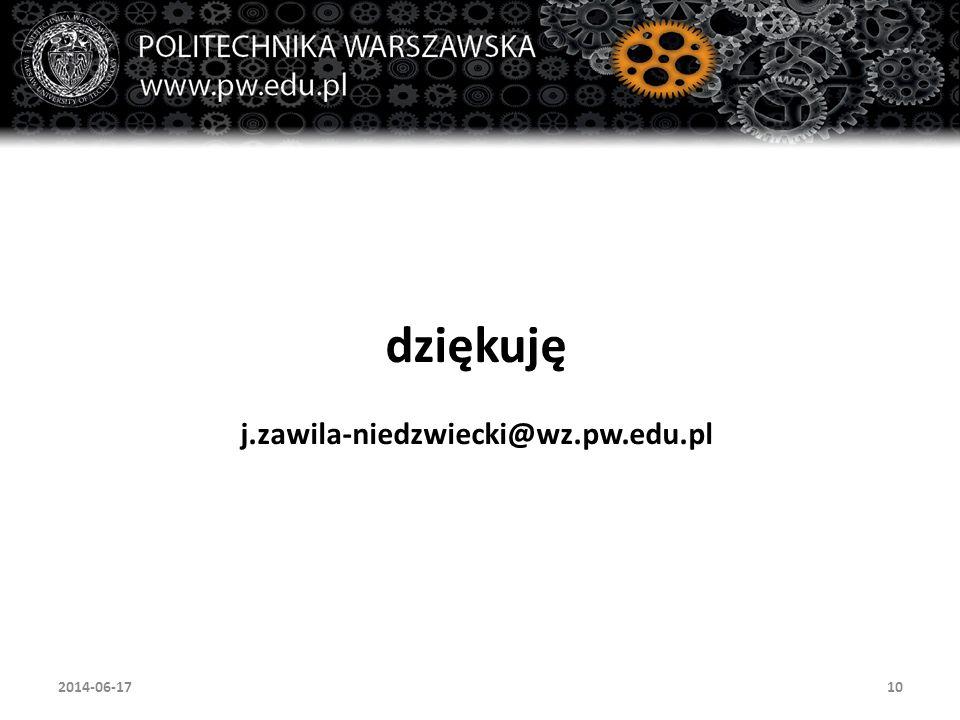dziękuję j.zawila-niedzwiecki@wz.pw.edu.pl 102014-06-17