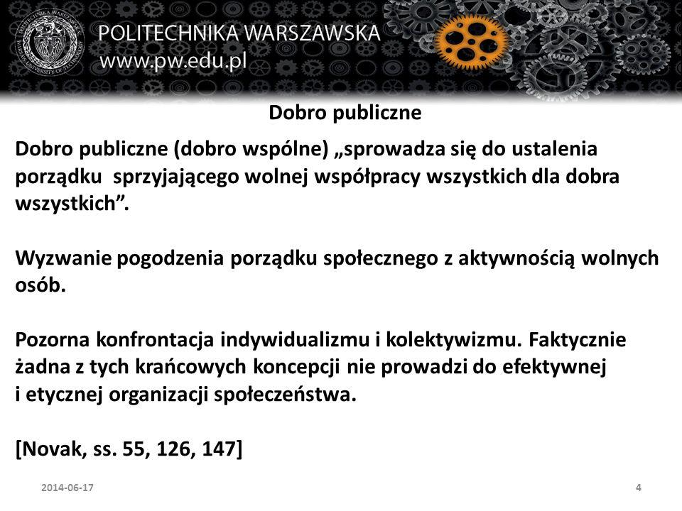 """4 Dobro publiczne Dobro publiczne (dobro wspólne) """"sprowadza się do ustalenia porządku sprzyjającego wolnej współpracy wszystkich dla dobra wszystkich ."""