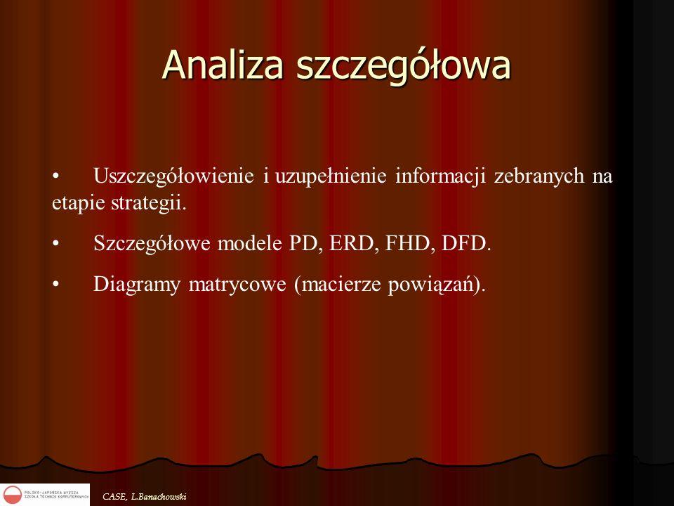 CASE, L.Banachowski Analiza szczegółowa Uszczegółowienie i uzupełnienie informacji zebranych na etapie strategii. Szczegółowe modele PD, ERD, FHD, DFD
