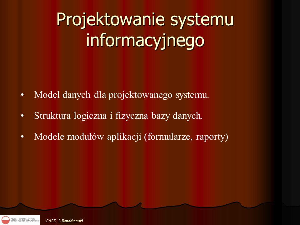 CASE, L.Banachowski Projektowanie systemu informacyjnego Model danych dla projektowanego systemu. Struktura logiczna i fizyczna bazy danych. Modele mo