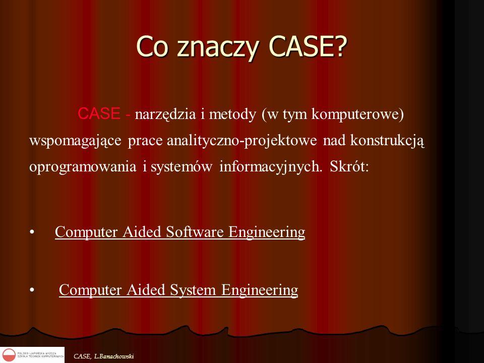 CASE, L.Banachowski Co znaczy CASE? CASE - narzędzia i metody (w tym komputerowe) wspomagające prace analityczno-projektowe nad konstrukcją oprogramow