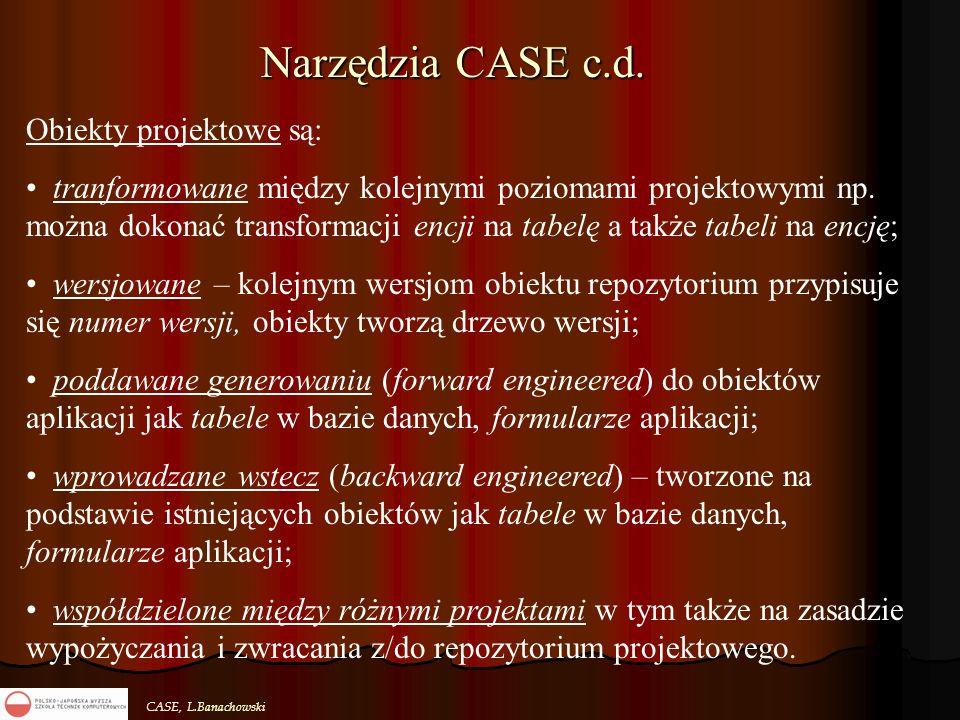 CASE, L.Banachowski Narzędzia CASE c.d. Obiekty projektowe są: tranformowane między kolejnymi poziomami projektowymi np. można dokonać transformacji e