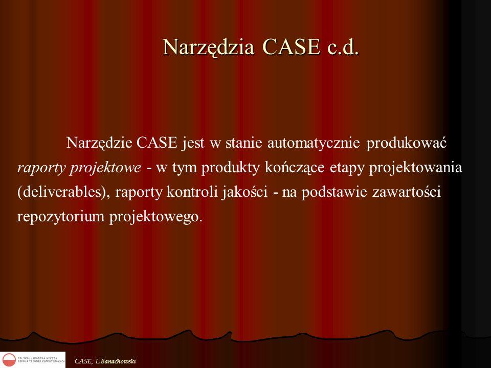 CASE, L.Banachowski Narzędzia CASE c.d. Narzędzie CASE jest w stanie automatycznie produkować raporty projektowe - w tym produkty kończące etapy proje