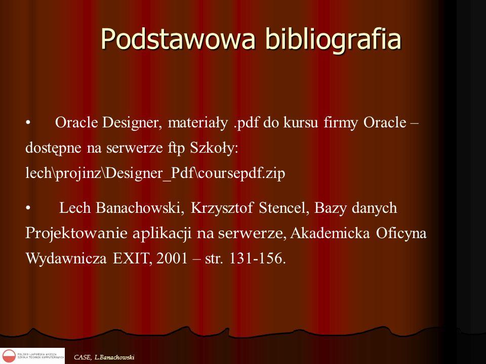 CASE, L.Banachowski Podstawowa bibliografia Oracle Designer, materiały.pdf do kursu firmy Oracle – dostępne na serwerze ftp Szkoły: lech\projinz\Desig