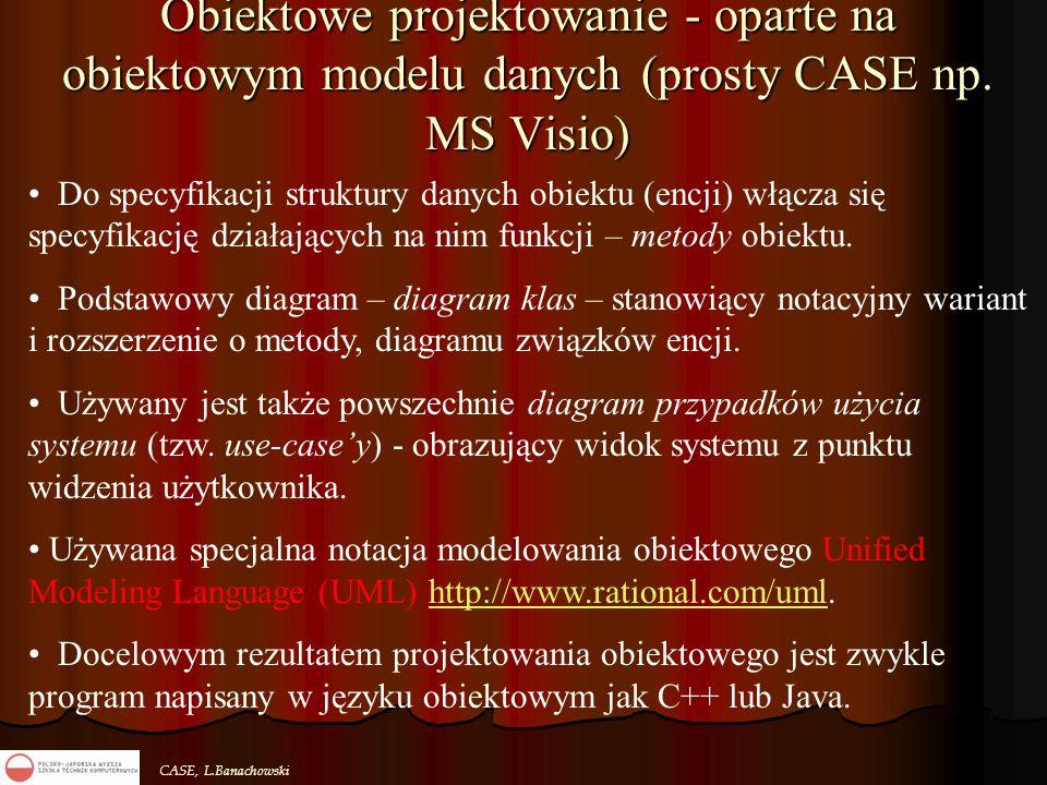 CASE, L.Banachowski Obiektowe projektowanie - oparte na obiektowym modelu danych (prosty CASE np. MS Visio) Do specyfikacji struktury danych obiektu (